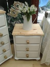 white stained bed side table with three drawer and rounded lovely shabby chic pine bedside 3 draw chest painted white natural