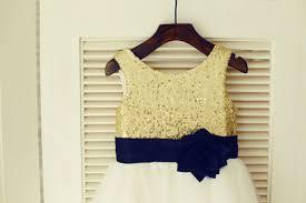gold sequin ivorytulle flower dress navy blue flower belt