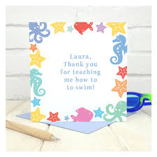 thank you swimming lessons personalised card chi chi moi