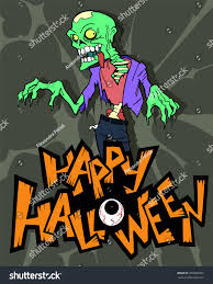 halloween cartoon background halloween cartoon background scary zombie character stock vector