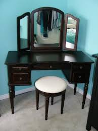 Antique Vanity Table With Mirror And Bench Classic Vanity With Tri Fold Mirror And Bench Espresso Walmart Com