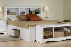 Queen Beds With Storage Bedroom Queen Storage Bed With Bookcase Headboard Platform
