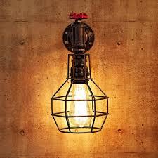 Wire Cage Light Dark Copper Single Light Wire Cage Pipe Wall Lantern