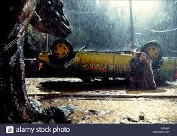 jurassic park car trex t rex sam neill u0026 ariana richards jurassic park 1993 stock photo