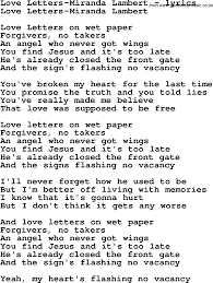 love song lyrics for love letters miranda lambert