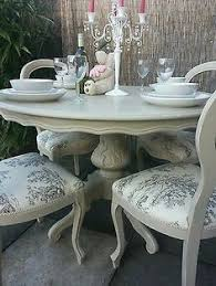 French Blue Shabby Chic Dining Table And Chairs Toile Fabric In - Shabby chic dining room set