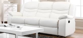 3 Seater Leather Recliner Sofa White Leather Recliner Sofa Contour Blossom White