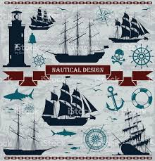 set of sailing ships with nautical design elements stock vector