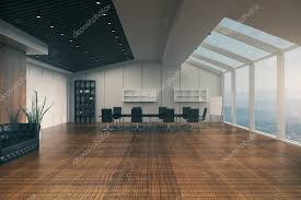 conference room interior with furniture wooden floor concrete