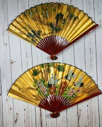 Chinese Fan Wall Decor by Vintage Chinese Wall Fan Set Crane Waterfall Gold Leaf Hand
