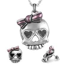 badass earrings skull necklace earrings bejeweled badass in pink jewelry set