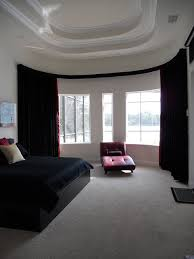 bay window bendable curtain rod with valance modern bedroom