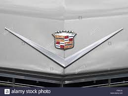 logo cadillac badges on bonnet of 1964 cadillac de ville american car stock