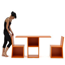 trick bookcase table and chairs multifunctional furniture