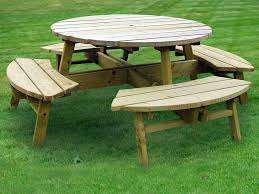 Diy Small Round Wood Park Picnic Table With Detached Octagon Bench by Sweet Inspiration Round Wooden Picnic Tables Excellent Ideas Table