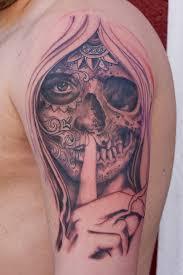 keep silence catrina skull design on half sleeve