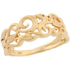 gold ring design 14k real yellow gold vine designer band ring