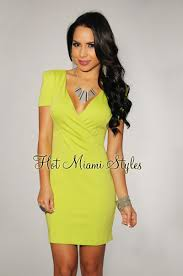 lime green wrap neckline dress