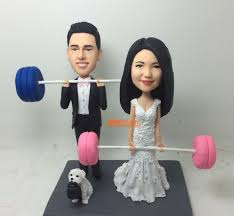 weight lifting cake topper weight lifting cake topper wedding cake topper bobble custom