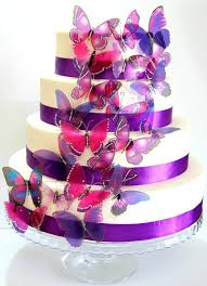 50 X Mixed Purple Stick Butterflies Wedding Cake Toppers