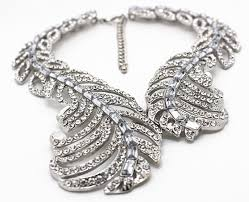 crystal link necklace images Crystal link chain feather vintage statement necklace handmade jpg