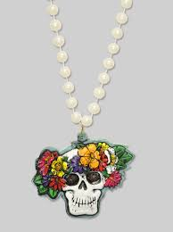 day of the dead skull with flowers halloween themed mardi gras
