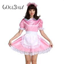 Cross Dressing Halloween Costume Aliexpress Buy Sissy Maid Satin Pink Lockable Dress