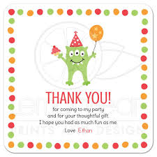 thank you cards with three balloon and party hat birthday party