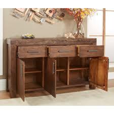 modus meadow 3 door 3 drawer solid wood sideboard brick brown