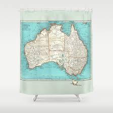 Vintage Home Decor Australia Australia Shower Curtain Vintage Map Aqua Turquoise Retro