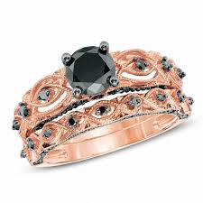 rose style rings images 1 3 8 ct t w enhanced black diamond vintage style bridal set in jpg