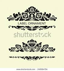 floral ornament decorations blank label drawing stock vector