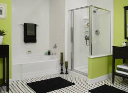 light green color bathroom modern walk in shower in white wall design with glass