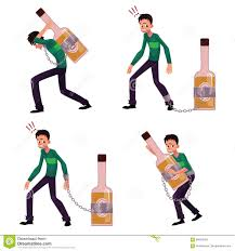 cartoon alcohol young man chained to carrying holding bottle of liquor booze