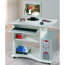 bureau compact à roulettes pepe blanc desserte informatique en