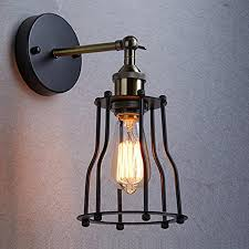 wire cage l shade industrial edison vintage wall sconce l 1 light wire cage shade