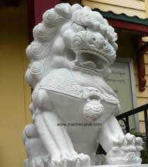 fu dog statues foo dog marble carving pc040531