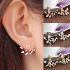 sided stud earrings buy whimsical leaf ear jacket sided swing stud