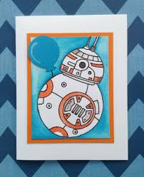 Invitation Note Cards Star Wars Bb8 Birthday Card Party Invitation Birthday Thank
