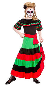 Halloween Costumes Mexican Dead Senorita Girls Fancy Dress Halloween Mexican