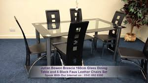 julian bowen brescia 160cm glass dining table and 6 black faux