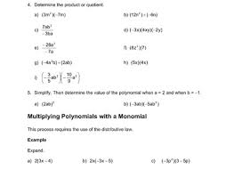 multiplying monomials worksheet kuta multiply polynomial