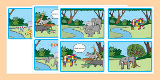 Patchwork Elephant Book - story sequencing 4 per a4 to support teaching on elmer