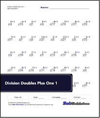 division worksheets for doubles plus one for all doubles less than