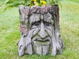 garden planter tree stump green of the forest flower pot