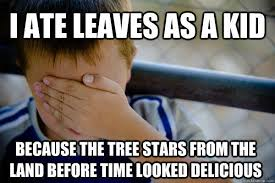 Land Before Time Meme - i ate leaves as a kid because the tree stars from the land before