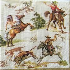 2 paper napkins decoupage wild west horses cowboys luncheon craft