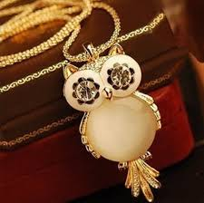 long gold owl necklace images 18k gold long chain crystal owl necklace jpg