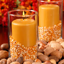 fall decorations from home furnishings popcorn kernels in candle