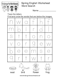 spring english worksheet free kindergarten seasonal worksheet
